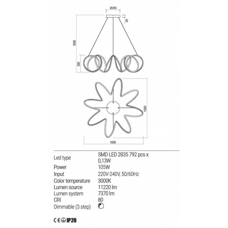 Lustra Redo Vuelta LED Alb mat - 01-1778 - 105W 11220/7370 lumeni alb cald 3000K  Dimabila (3 trepte)