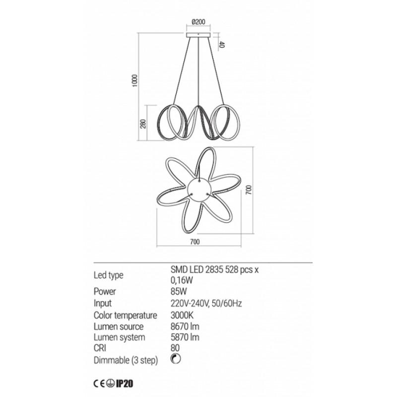 Lustra Redo Vuelta LED  Alb mat - 01-1776 - 85W 8670/5870 lumeni alb cald 3000K  Dimabila (3 trepte)