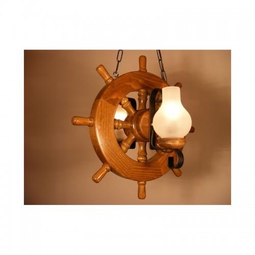 Lustra Timona din lemn de fag si abajur tip lampa Omnia
