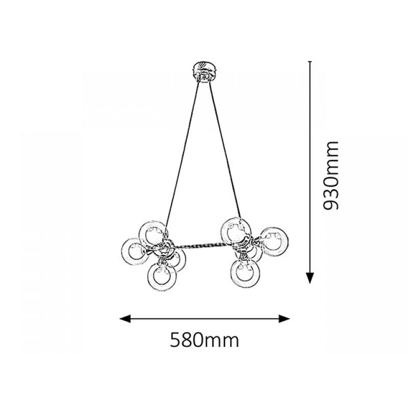 Pendul Briella structura din metal si abajur din sticla 2624 Rabalux