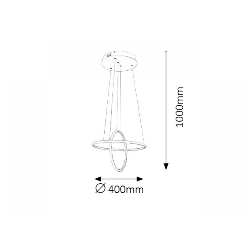 Pendul Donatella structura din metal cu LED-uri si abajur din plastic 2544 Rabalux
