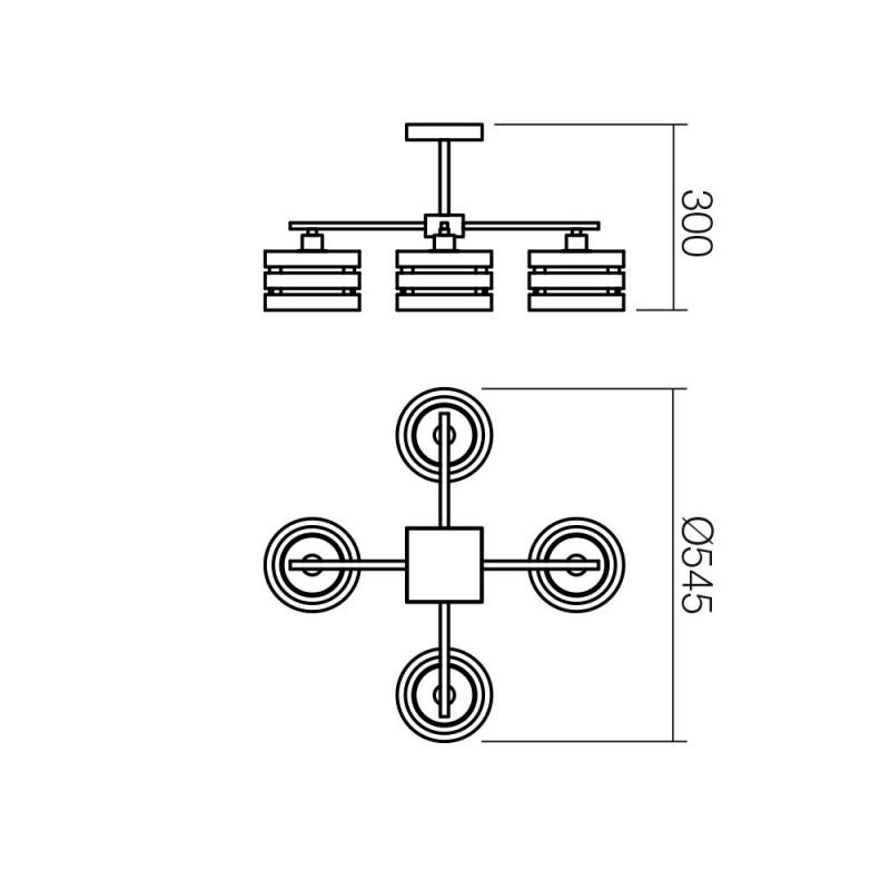 Plafoniera Kim structura din metal si lemn si abajur din sticla 01-627 Smarter