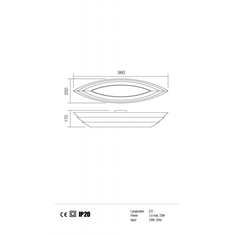Plafoniera Calypso structura metalica alb mat 01-763 Redo