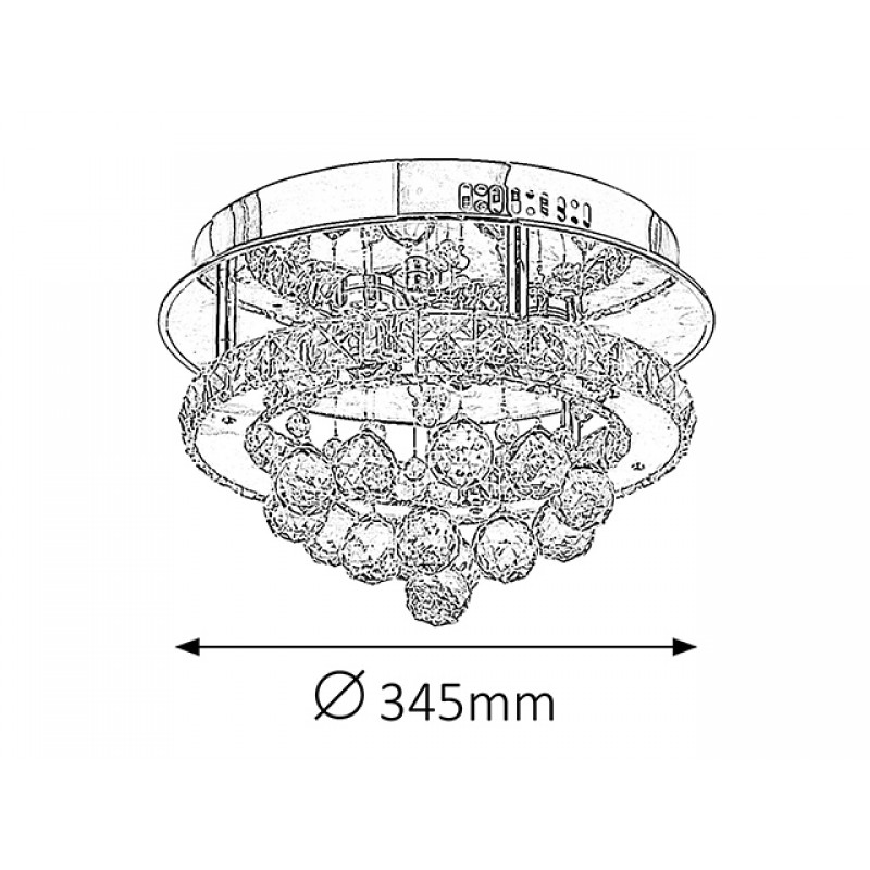 Plafoniera Asley structura din metal si decoratiuni din sticla 2743 Rabalux