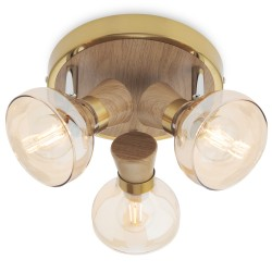 Plafoniera Bowie 04-477, 3 x E14, lemn natur + auriu + ambra