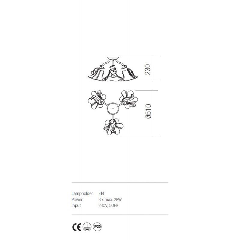 Plafoniera Dalila structura din metal cu detalii din fier forjat IDL CL3 05 Incanti