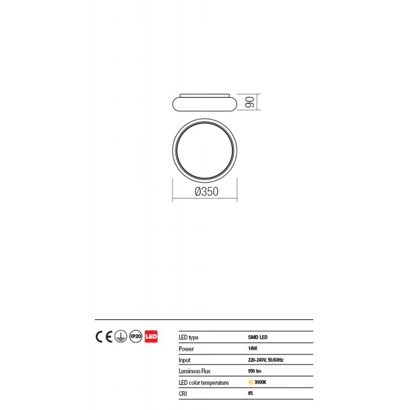 Plafoniera Elo structura metalica cu Led-uri SMD 01-1465 Redo