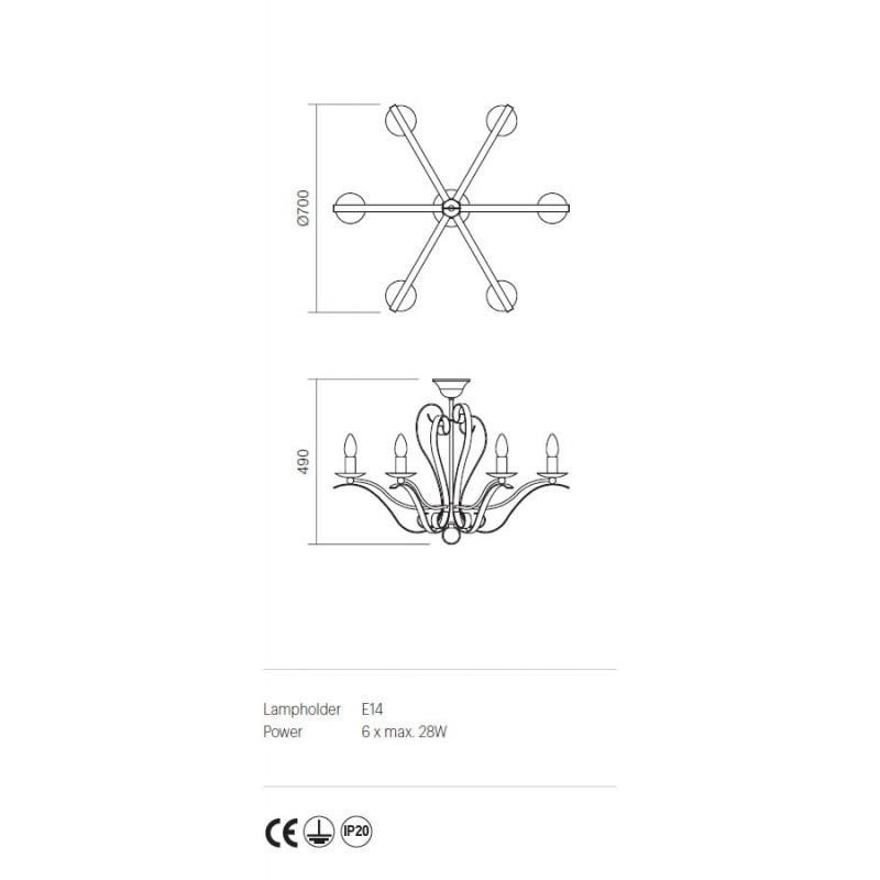 Plafoniera Fenice structura metalica finisaj negru 02-828 Incanti