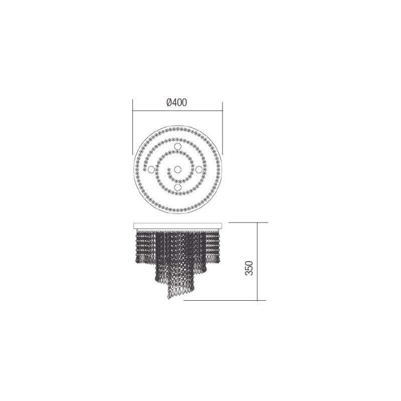 Plafoniera Coco structura metalica cromata si cristale ICC CL5 10 60 Incanti