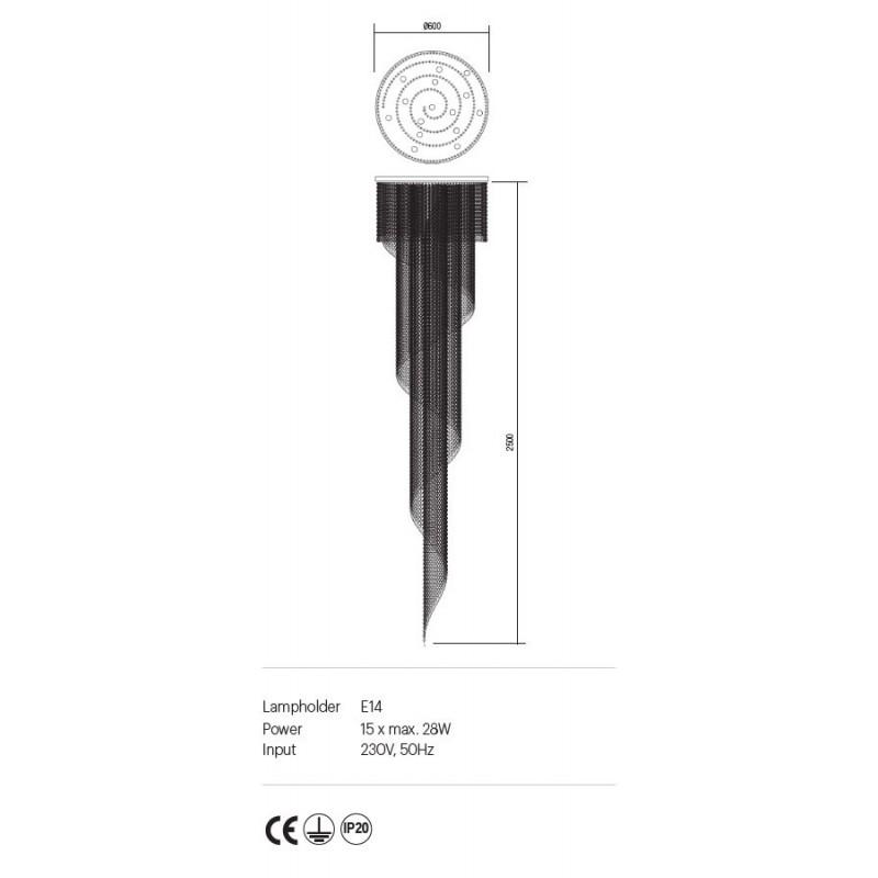Suspensie Coco structura din metal aurit si cristale ICC P15 11 60 Incanti