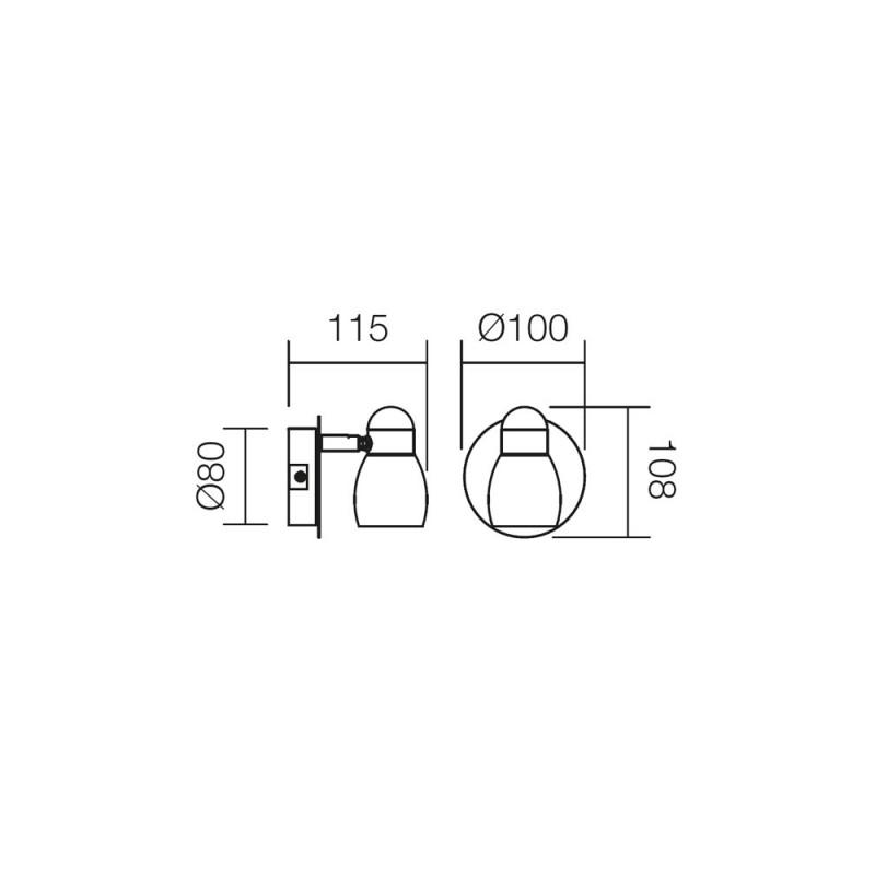 Aplica Elis structura din metal cromat si abajur gri 04-340 Smarter