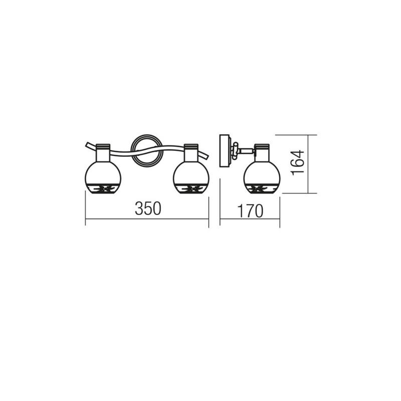 Aplica/Plafoniera Auris structura din metal alama antica si abajur din sticla 04-450 Smarter