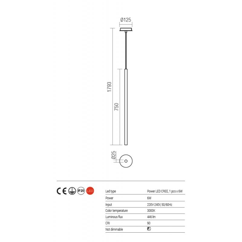 Suspensie Kanji pentru interior echipata cu POWER LED structura din metal vopsit in negru mat 01-1225 Redo