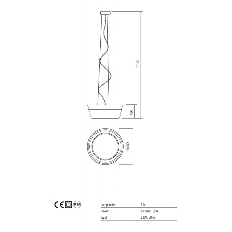 Suspensie Calypso structura metalica alb mat 01-927 Redo