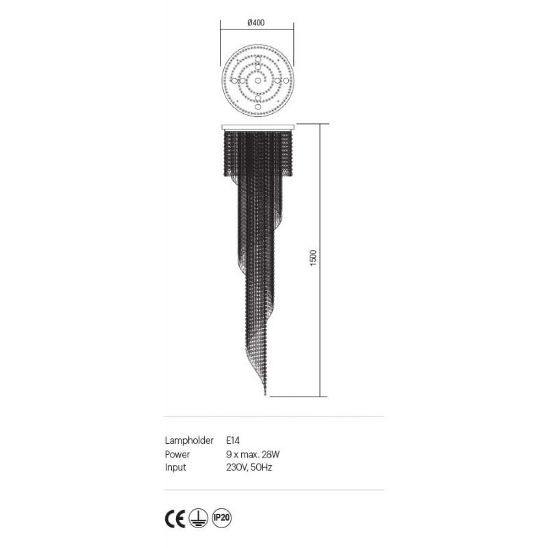 Suspensie Coco structura din metal aurit si cristale ICC P9 11 60 Incanti