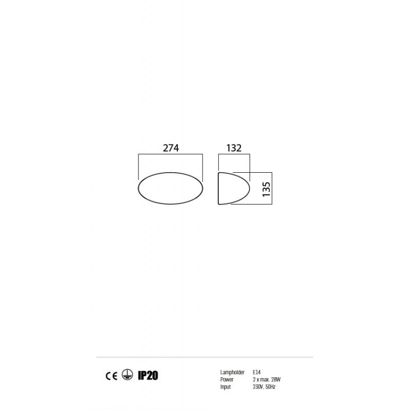 Aplica Nuvolo pentru interior structura din metal si dispersor din sticla suflata alb opal 01-576 Redo