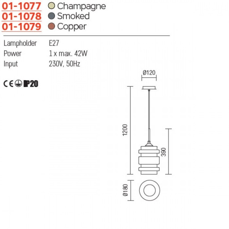 CORP IL VITRO SUSP 1*E27 COPPER 01-1079