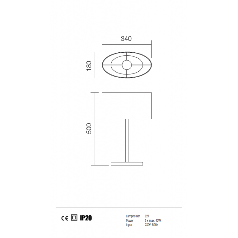 Veioza Enjoy structura din metal cu abajur alb 01-680 WH REDO