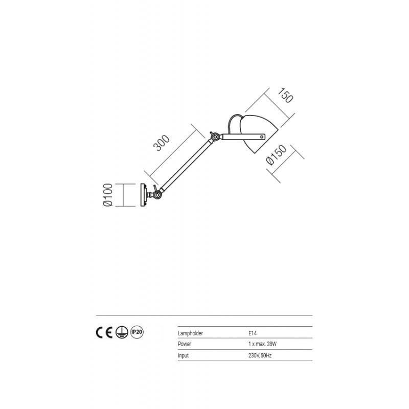 Aplica/Plafoniera Reverse pentru interior cu brat orientabil structura si abajur din metal albastru inchis 01-1108 Redo