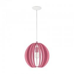 Suspensie Fabella pentru interior,cu abajur din lemn de culoare roz 95953 Eglo