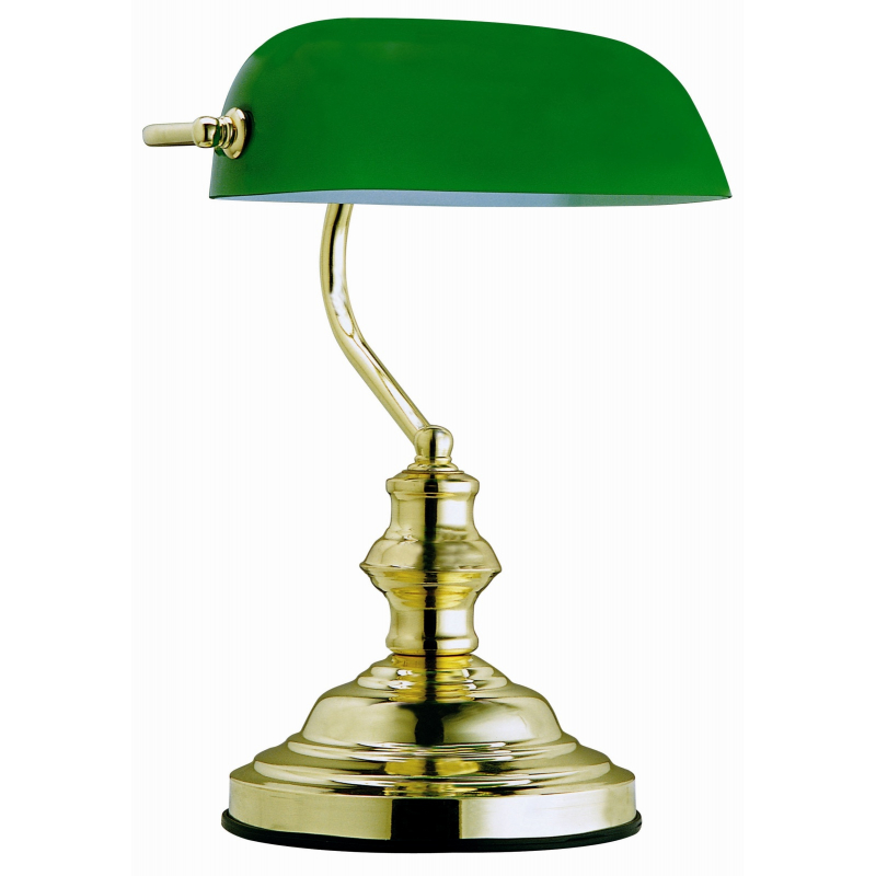Lampă de birou  alamă sticlă verde 2491 ANTIQUE