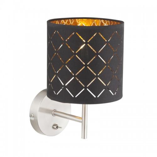 Aplica de perete nichel mat textil negru auriu metalizat 15229W CLARKE