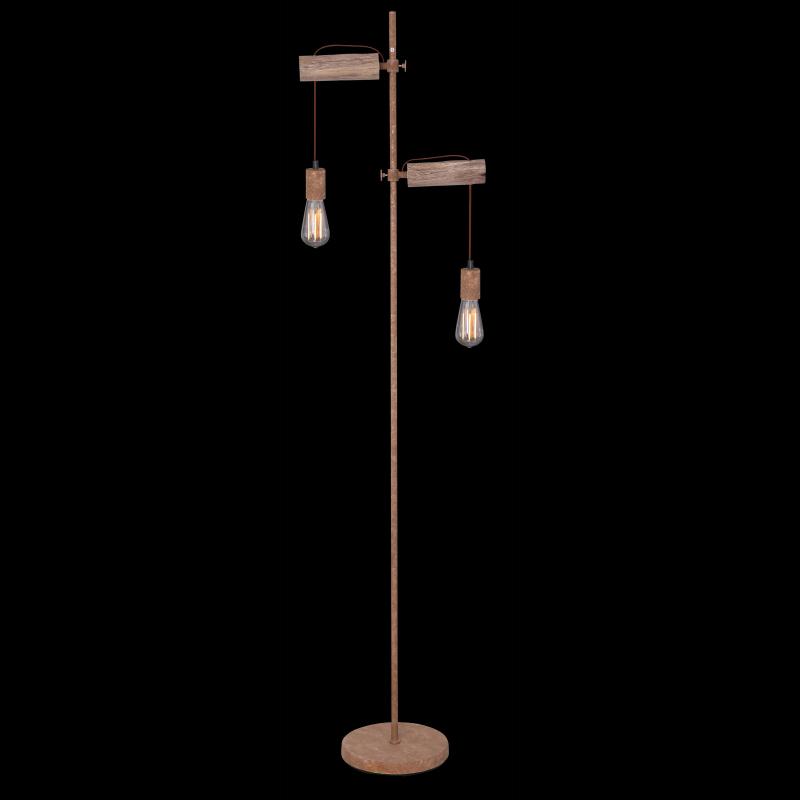 Lampadar din metal de culoare ruginie lemn natural fără abajur 15327-2SN JAKOB