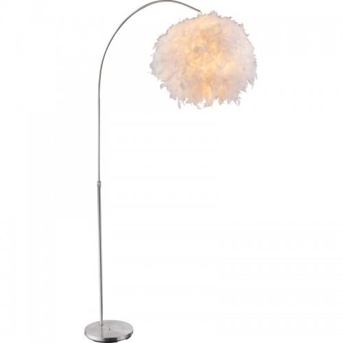 Lampadar nichel mat  abajur cu pene albe reale  inaltime reglabila 15057S KATUNGA