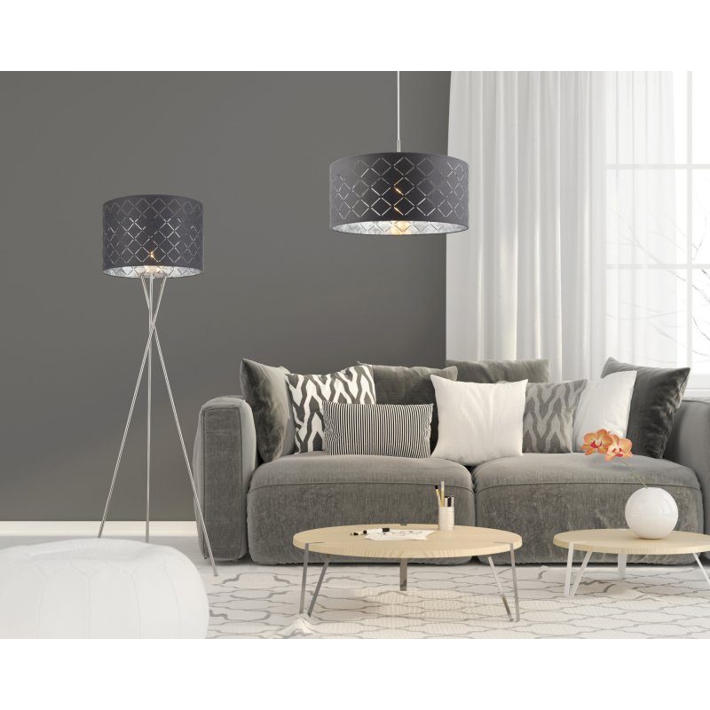 Lampadar nichel mat textil negru argintiu metalizat 15228S1 KIDAL