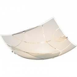 Plafoniera crom alb, sticla mata linii decorative 40403-1 PARANJA