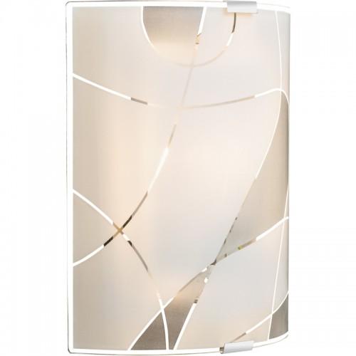 Aplica de perete crom alb sticla mata linii decorative 40403W2 PARANJA