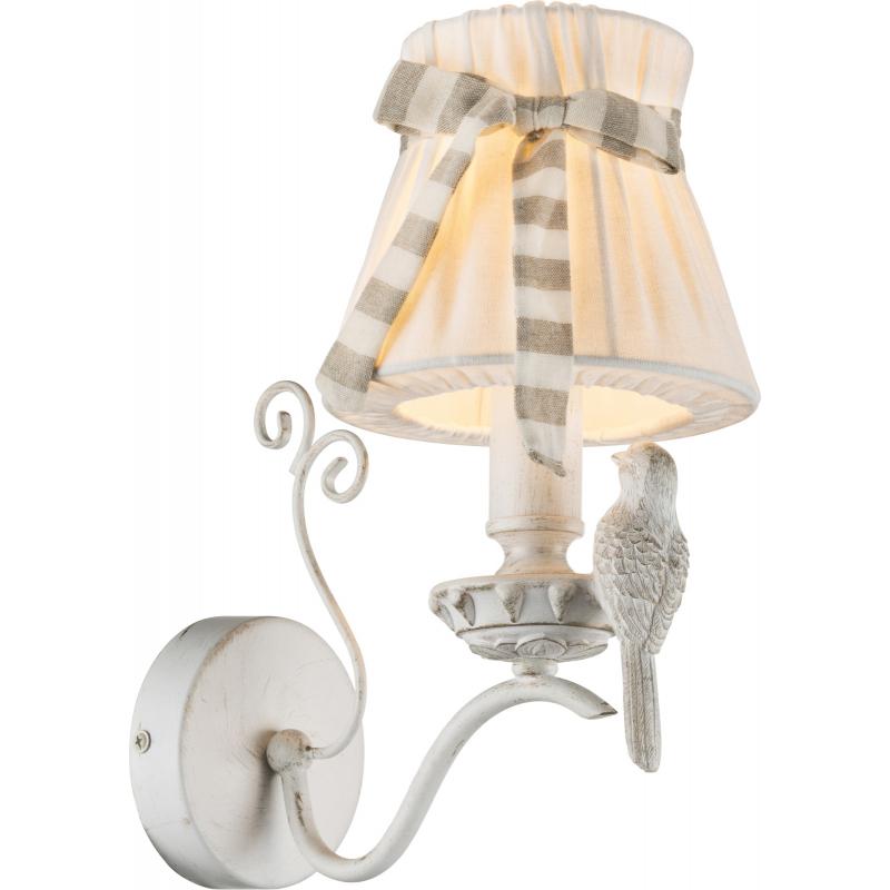 Aplica de perete alb platinat auriu textil alb  cu pasăre 69027-1W SAVIO
