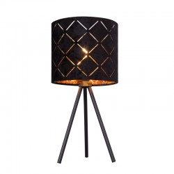 Veioza metal negru textil negru interior auriu 15334T SUNNA