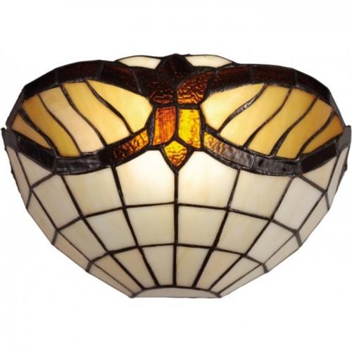 Aplica Baroc cu structura metalica finisaj maro antic si abajur din sticla multicolora KL 1783 Klausen