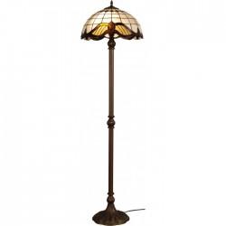 Lampadar Baroc cu structura metalica finisaj maro antic si abajur din sticla multicolora KL 1779 Klausen