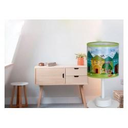 Veioza House pentru camera copiilor,structura metalica si imprimeu cu casute KL 6597 Klausen