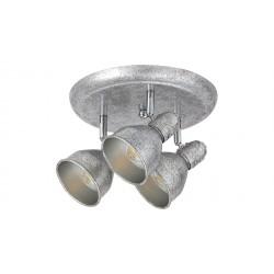 LAMPA SPOT TRIPLA DIN METAL ARGINTIU ANTICHIZAT THELMA 5388