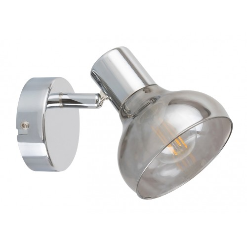 LAMPA DE PERETE MODERNA DIN METAL CROMAT SI ABAJUR DIN GEAM FUMURIU HOLLY 5555