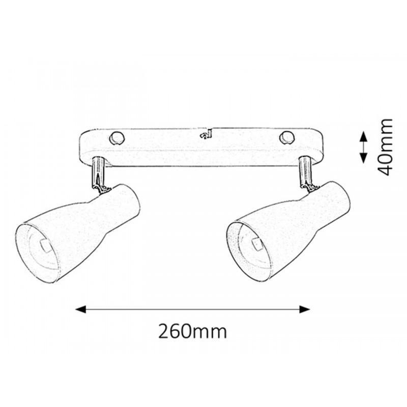 LAMPA SPOT DUBLA STRUCTURA METAL ALB EBONY 6027