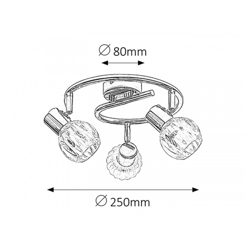 LAMPA SPOT CU TREI ELEMENTE STRUCTURA METAL CROMAT SI ABAJUR TRANSPARENT DIN STICLA LAUREN 6093