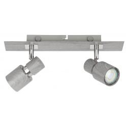 Lampa spot dubla metal/stejar invechit MERKUR 6126