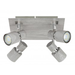 Lampa spot cu patru elemente metal/stejar invechit MERKUR 6128