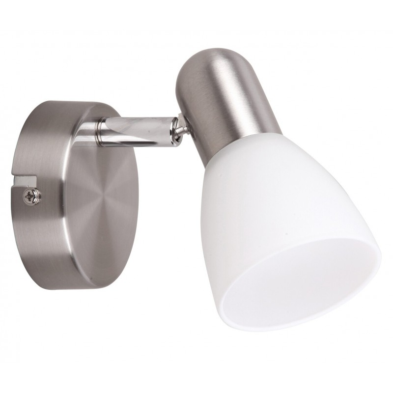 LAMPA DE PERETE STRUCTURA METAL CROMAT SI ABAJUR DIN STICLA ALB SOMA 6301