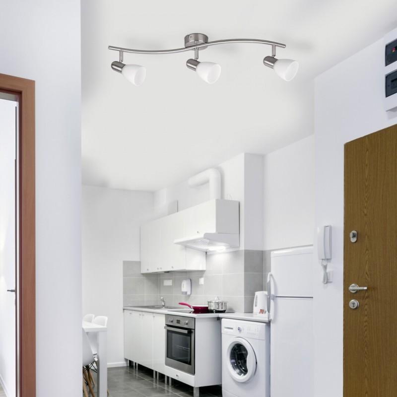 LAMPA SPOT CU TREI ELEMENTE METAL CROMAT SI ABAJUR DIN STICLA SOMA 6303