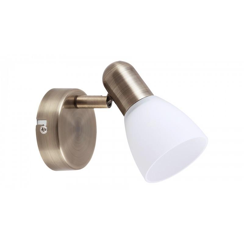 LAMPA SPOT DE PERETE BRONZ CU ABAJUR ALB SOMA 6306
