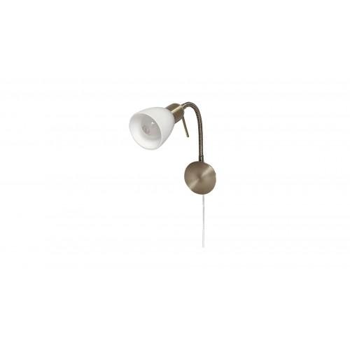 LAMPA DE PERETE METAL/BRONZ CU ABAJUR ALB DIN STICLA SOMA 6320