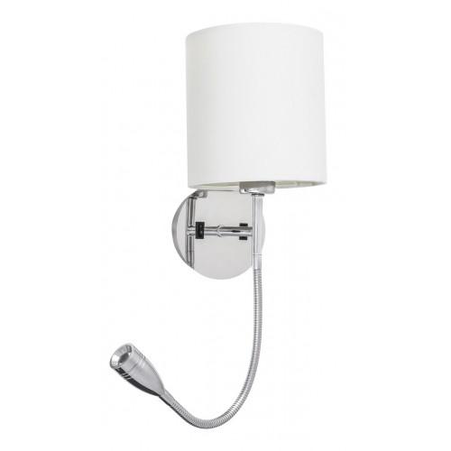 Lampa de perete metal cromat cu abajur din geam alabastru alb LARKIN 6529