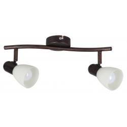 LAMPA SPOT DUBLA METAL / MARO ANTIC SI ABAJUR CREM DIN STICLA SOMA 6592 RABALUX