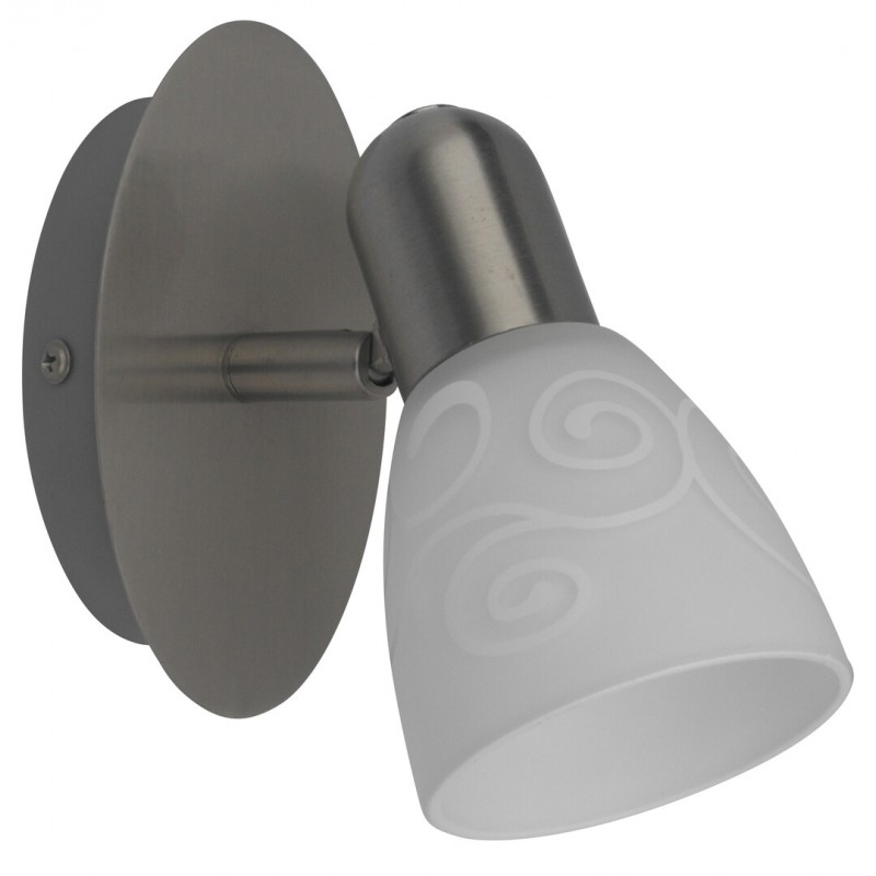 LAMPA SPOT DE PERETE STRUCTURA METAL CROMAT SATIN SI ABAJUR CU MODEL ALB HARMONY LUX 6635