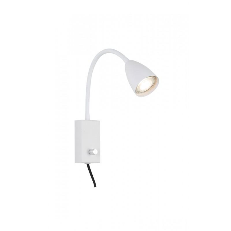 Lampa moderna metal alb si cablu cu teaca textila MIKA 6720